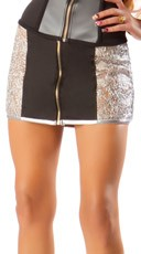 Silver Zipper Spun Skirt
