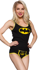Plus Size Batman Ribbed Tank and Panty Set
