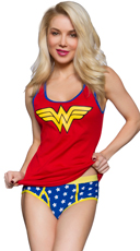 Plus Size Wonder Woman Ribbed Tank and Panty Set