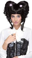 Black Yuki Wig with Flowers
