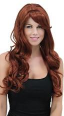 Rich Auburn Long Curly Wig