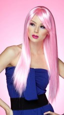 Cotton Candy Pink Long Straight Wig