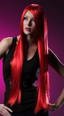Fire Engine Red Extra Long Straight Wig