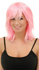 Cotton Candy Pink Rocker Layers Wig