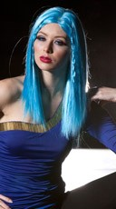 Cool Blue Medium Length Straight Wig