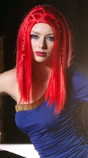 Fire Engine Red Medium Length Straight Wig