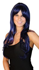 Deluxe Long Midnight Blue Wig