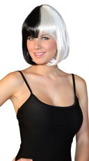 Deluxe Bobbed Black and White Wig