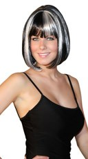 Deluxe Bobbed Black with White Strands Wig