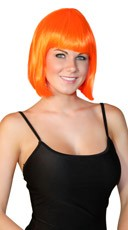 Deluxe Bobbed Neon Orange Wig