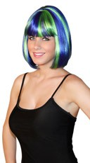 Deluxe Bobbed Blue and Green Wig