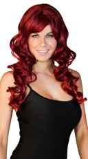 Deluxe Long Curled Burgundy Wig