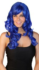 Deluxe Long Curled Dark Blue Wig