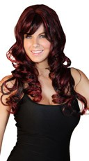 Deluxe Dark Burgundy Long Curly Wig