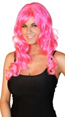 Deluxe Long Curly Hot Pink Wig