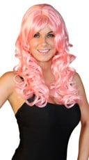 Deluxe Long Pink Curly Wig