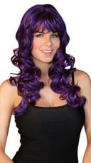 Deluxe Long Curled Purple Wig