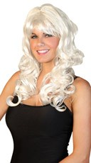 Deluxe Long White Curled Wig