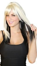 Platinum and Black Two Toned Wig