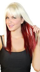 Platinum and Burgundy Two Toned Wig