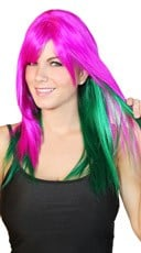 Magenta and Green Two Toned Wig