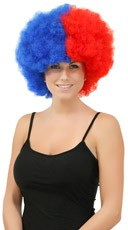 Red and Blue Two Tone Afro Wig