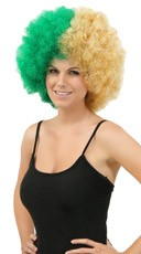 Green and Gold Two Tone Afro Wig