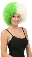 Green and White Two Tone Afro Wig