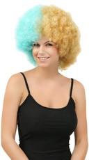 Blue and Gold Two Tone Afro Wig