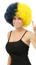 Navy Blue and Yellow Two Tone Afro Wig