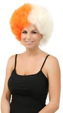 Orange and White Two Tone Afro Wig