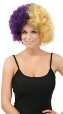 Purple and Gold Two Tone Afro Wig