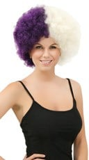 Purple and White Two Tone Afro Wig