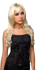 Long Blonde Wig With Curled Ends