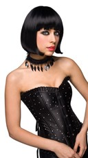 Black Curled Out Bob Wig