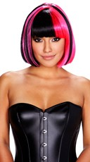 Black, Red and Neon Pink Bob Wig