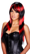 Long Black and Red Striped Wig