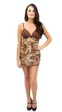 Brown Lace and Camo Babydoll Set