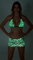 Printed Glow in the Dark Banded Halter and Mini Skirt Set
