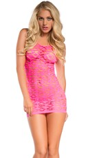 Geometric Fishnet Cut-Out Chemise Dress