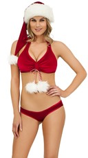Exclusive Red Velvet Halter Bra and Panty Set
