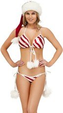 Exclusive Metallic Candy Cane Bra and Panty Set