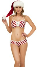 Exclusive Candy Cane Bandeau Bra and Panty Set