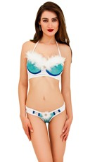 Ice Goddess Feathered Bustier Set