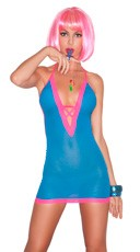 """Tangy Taffy"" Turquoise Halter Chemise"