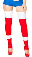 Red and White Color Block Leggings