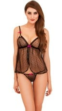 Plus Size Dotted Mesh Flyaway Babydoll