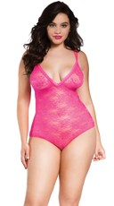 Plus Size Floral Lace Strappy Teddy