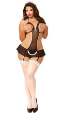 Plus Size Cupless French Maid Apron Babydoll
