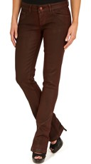 Red Wax Coated Mini Boot Cut Jeans